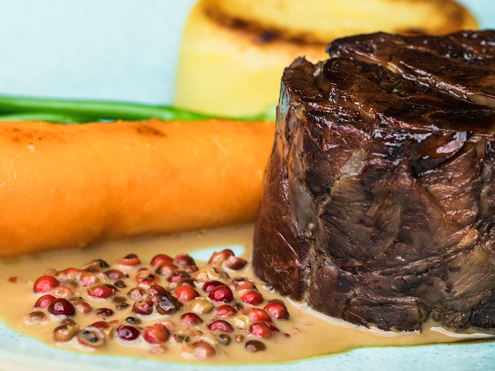 Beef Daube, Fondant Potato, Confit Carrot, Long Stem Broccoli, Peppercorn Sauce